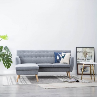vidaXL Sofa in L-Form Stoffbezug 171, 5 x 138 x 81, 5 cm Hellgrau