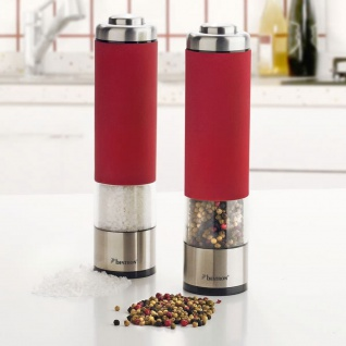 Bestron Elektrische Salz- und Pfeffermühlen Set Rot APS526R