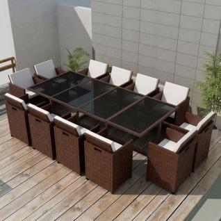 vidaXL 13-tlg. Garten-Essgruppe mit Auflagen Poly Rattan Braun