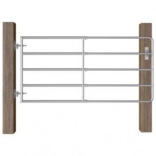 vidaXL 5-Rohr-Weidetor Stahl (95-170)×90 cm Silbern