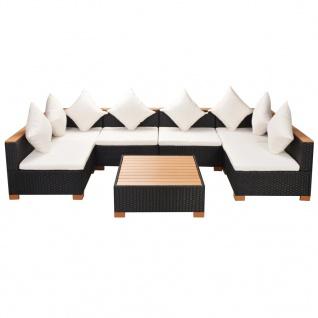 vidaXL 7-tlg. Garten-Lounge-Set mit Auflagen Poly Rattan Schwarz - Vorschau 2