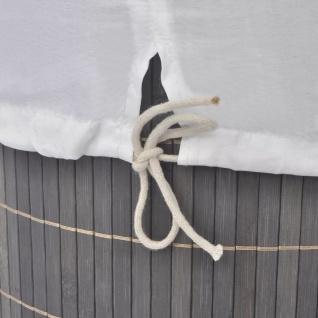 vidaXL Wäschekorb aus Bambus Rund Dunkelbraun - Vorschau 3