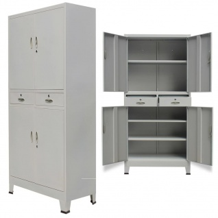 vidaXL Büroschrank mit 4 Türen Stahl 90x40x180 cm Grau