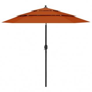 vidaXL Sonnenschirm mit Aluminium-Mast 3-lagig Terracotta-Rot 2, 5 m