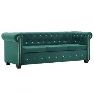 vidaXL Chesterfield Sofa 3-Sitzer Samtbezug 199x75x72cm Grün