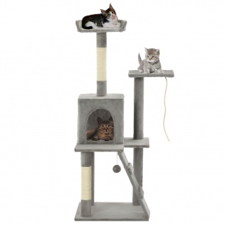 vidaXL Katzenbaum mit Sisal-Kratzsäulen 120 cm Grau