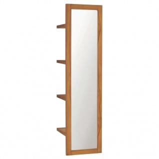 vidaXL Wandspiegel mit Regalen 30×30×120 cm Teak Massivholz