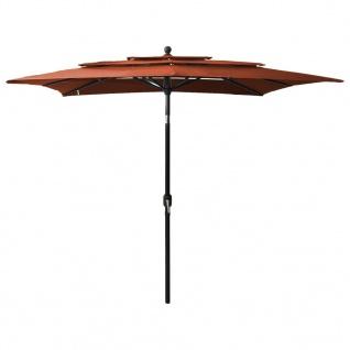 vidaXL Sonnenschirm mit Alu-Mast 3-lagig Terracotta-Rot 2, 5x2, 5 m
