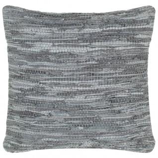 vidaXL Kissen Chindi Grau 60 x 60 cm Leder und Baumwolle