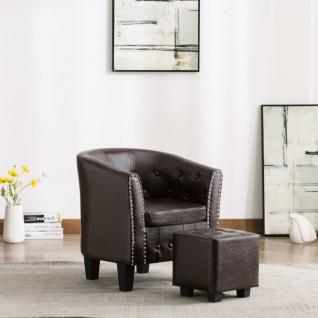 vidaXL Sessel mit Fußhocker Braun Kunstleder