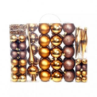 vidaXL 113-tlg. Weihnachtskugel-Set 6 cm Braun/Bronze/Golden