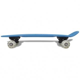 Skateboard, Blau Retro mit LED Rollen - Vorschau 2