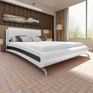 vidaXL Bett mit Matratze 180×200 cm Kunstleder Weiß/Schwarz