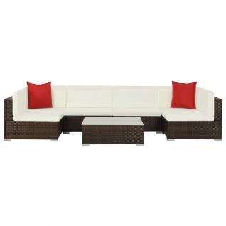 vidaXL 7-tlg. Garten-Lounge-Set mit Auflagen Poly Rattan Braun