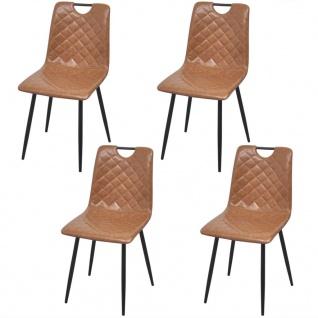 vidaXL Esszimmerstühle 4 Stk Kunstleder Hellbraun