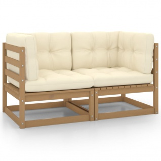 vidaXL Gartensofa 2-Sitzer mit Kissen Honigbraun Massivholz Kiefer