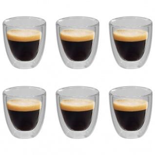 vidaXL Doppelwandiges Thermoglas für Espresso 6 Stk. 80 ml