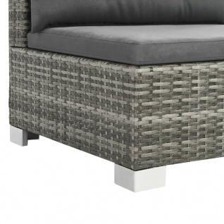 vidaXL 10-tlg. Garten-Lounge-Set mit Auflagen Poly Rattan Grau - Vorschau 5