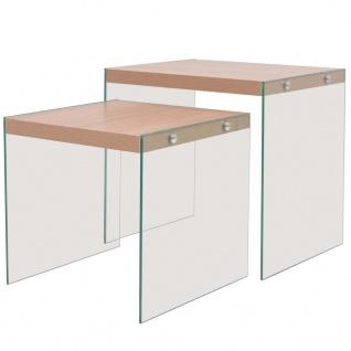 vidaXL Beistelltisch-Set 2 Stk. Glas MDF Eichenoptik
