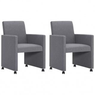vidaXL Esszimmerstühle 2 Stk. Hellgrau Stoff