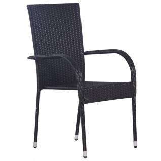 vidaXL Stapelbare Gartenstühle 6 Stk. Poly Rattan Schwarz - Vorschau 2