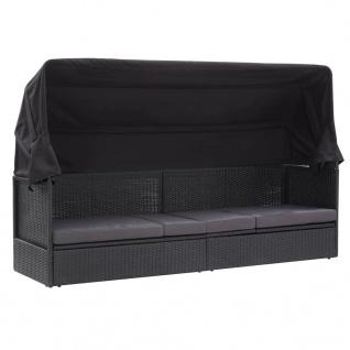 vidaXL Outdoor-Sofabett mit Sonnendach Poly Rattan Schwarz