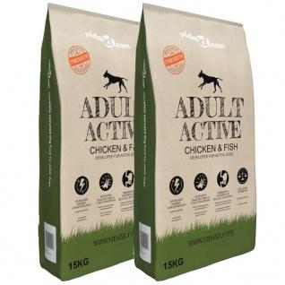 vidaXL Premium-Trockenhundefutter Adult Active Chicken & Fish 2 x 15 Kg
