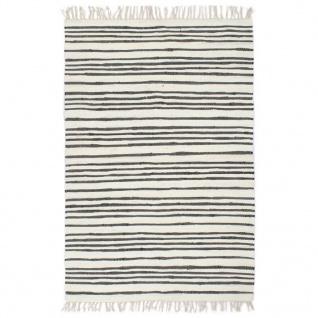 vidaXL Handgewebter Chindi-Teppich Baumwolle 80x160cm Anthrazit Weiß