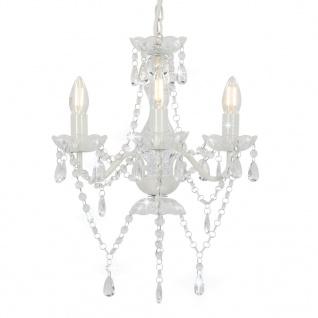 vidaXL Kronleuchter mit Perlen Weiß Rund 3ßE14