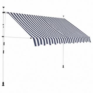 vidaXL Einziehbare Markise Handbetrieben 250 cm Blau/Weiß Gestreift