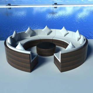 vidaXL 10-tlg. Garten-Lounge-Set mit Auflagen Poly Rattan Braun