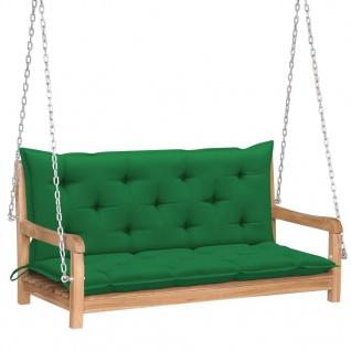 vidaXL Hollywoodschaukel mit Grüner Auflage 120 cm Massivholz Teak