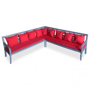 vidaXL 3-tlg. Garten-Lounge-Set Massivholz Akazie Grau und Rot