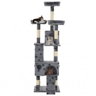 vidaXL Katzen-Kratzbaum mit Sisal-Säulen 170 cm Pfoten-Aufdruck Grau