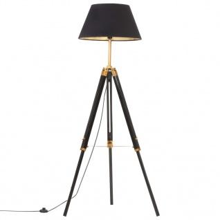vidaXL Stativlampe Schwarz und Golden Teak Massivholz 141 cm