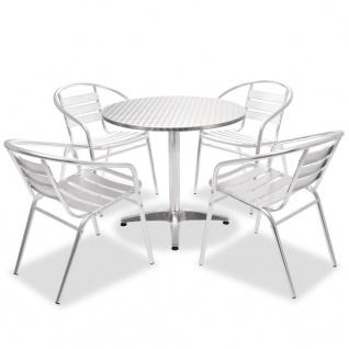 vidaXL Bistro-Set 5-tlg. Runder Tisch und stapelbare Alu-Stühle