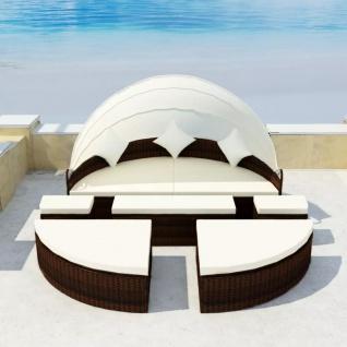 vidaXL Gartenbett mit Dach Braun 186×226 cm Poly Rattan