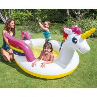 Intex Einhorn Pool mit Wasserspritzfunktion 272x193x104 cm