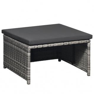 vidaXL 6-tlg. Garten-Lounge-Set mit Auflagen Poly Rattan Grau - Vorschau 4