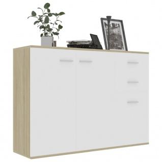 vidaXL Sideboard Weiß Sonoma-Eiche 105 x 30 x 75 cm Spanplatte - Vorschau 3