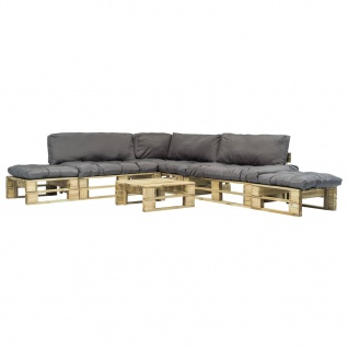 vidaXL 6-tlg. Garten-Lounge-Set Paletten Graue Auflagen Holz