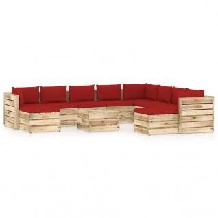 vidaXL 11-tlg. Garten-Lounge-Set mit Kissen Grün Imprägniertes Holz