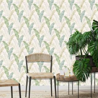 DUTCH WALLCOVERINGS Tapete Tropische Blätter Grau und Grün