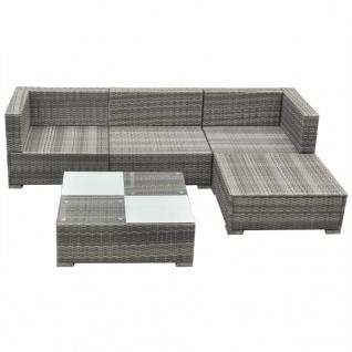 vidaXL 5-tlg. Garten-Lounge-Set mit Auflagen Poly Rattan Grau - Vorschau 5