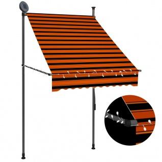 vidaXL Einziehbare Markise Handbetrieben mit LED 100 cm Orange Braun