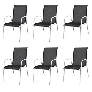 vidaXL Stapelbare Gartenstühle 6 Stk. Stahl und Textiline Schwarz