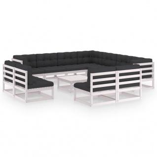 vidaXL 12-tlg. Garten-Lounge-Set mit Kissen Weiß Kiefer Massivholz