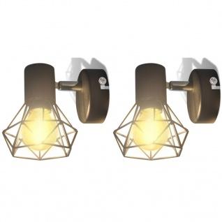 2 schwarze Wandleuchter Industrie-Stil Drahtgestell mit LED-Glühbirne