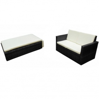 vidaXL 2-tlg. Garten-Lounge-Set mit Auflagen Poly Rattan Schwarz - Vorschau 2