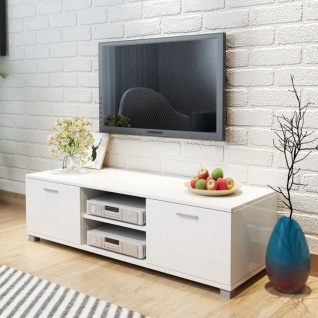 vidaXL TV Schrank Hochglanz Weiß 140x40, 3x34, 7 cm